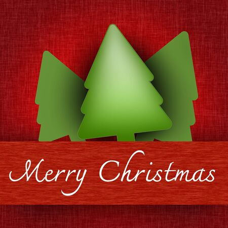 Grunge Merry Christmas Pop Up Card With Christmas Trees and Merry Christmas Banner in Red Background  photo