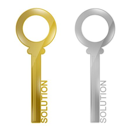Business Concept, The Golden and Silver Key With Solution Text As Key for Solution Isolated on White Background  photo