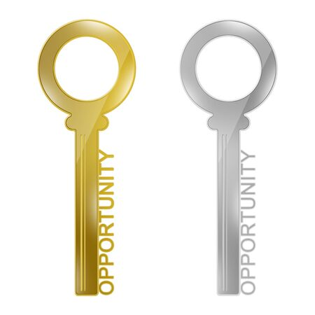 Key to Opportunity Concept, Present By The Silver and Gold Key With Opportunity Text Isolated on White Background Stock Photo - 17455023