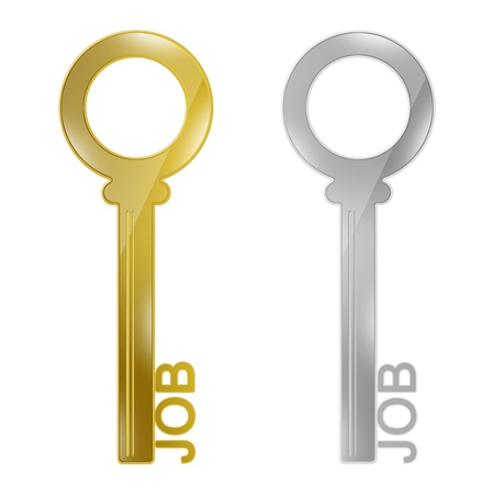 Key For Job Concept, Present With Golden and Silver Key With Job Text Isolated on White Background Stock Photo - 17455006