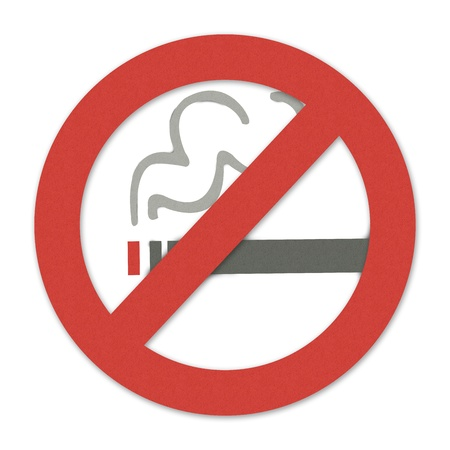 No Smoking Sign Made From Recycle Paper Isolate on White Background  photo