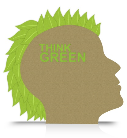 Think Green Idea Concept for Stop Global Warming or Save The Earth Campaign, Present By Head Made From Recycle Paper With Leaf as Hair Isolated on White Background photo