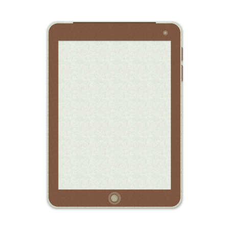 Blank Tablet PC Made From Recycle Paper Isolate on White Background Stock Photo - 17509934