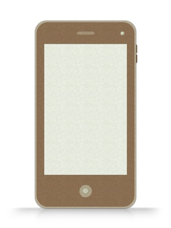 Mobile Phone Made From Recycle Paper With Blank Screen Isolate on White Background Stock Photo - 17509923