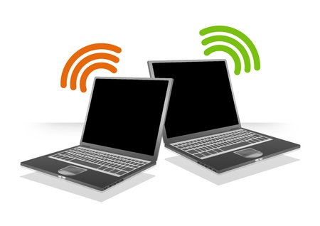 Computer Laptop With Wifi Sign For Online Communication Concept Isolate on White Background  Stock Photo - 17509862