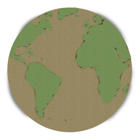 The Beautiful Global Planet Made From Recycle Paper Isolated on White Background  photo
