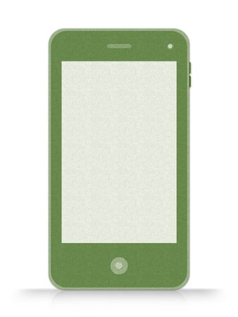 Blank Screen Green Mobile Phone Made From Recycle Paper Isolate on White Background Stock Photo - 17509927