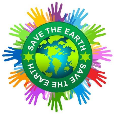 amor al planeta: Mano colorida alrededor guardar la etiqueta Tierra Con El Globo interior para guardar la campa�a Tierra aislada en el fondo blanco Foto de archivo