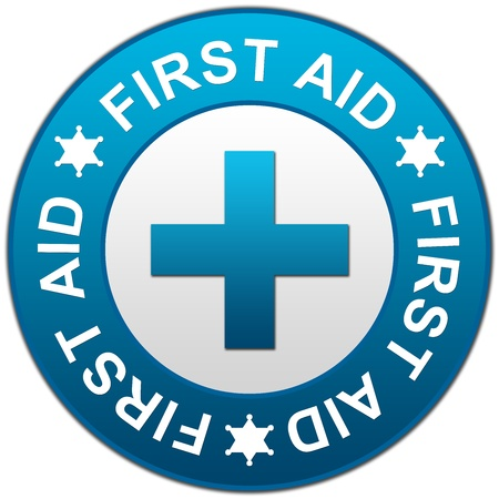 safety first: First Aid With Blue Glossy Circle Style Sign Isolated on White Background  Stock Photo