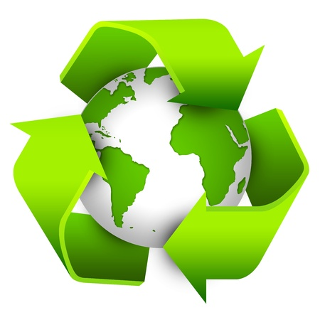 Recycle Sign Around The Earth For Save The Earth Concept Isolate on White Background