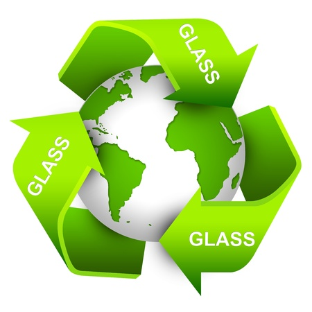 Save The Earth Concept Present By Green Recycle Sign For Glass Waste Around The Earth Isolate on White Background  photo