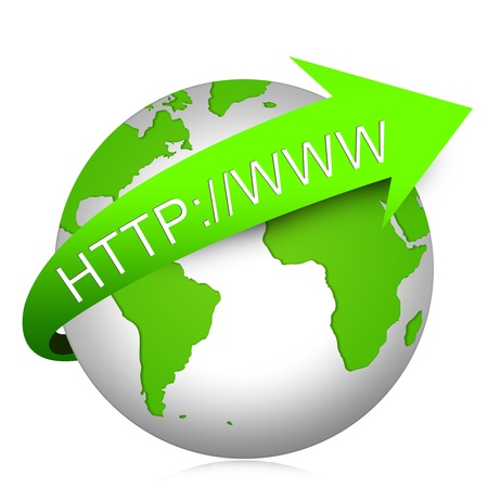 The Globe With Internet Address For Internet and Online Concept Isolated on White Background Reklamní fotografie - 17509932