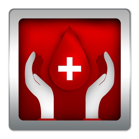 Blood Drop Over The Hand in Red Metallic Style Icon For Blood Donation Campaign Isolated on White Background  photo