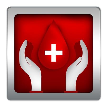 vasos sanguineos: Gota de sangre sobre la mano en Icon Style Red Metallic para la campa�a de donaci�n de sangre aislada en el fondo blanco Foto de archivo