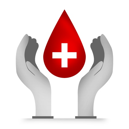 Blood Donation Concept Present With Blood Drop Over The Hand Isolated on White Background