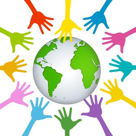 흰색 배경에 고립 된 녹색 지구 주위에 많은 손으로 현재 자원 봉사 개념