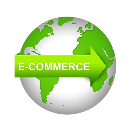 E-Commerce Concept Present By Green Earth With E-Commerce Arrow Isolated on White Background  Stock Photo - 17509887