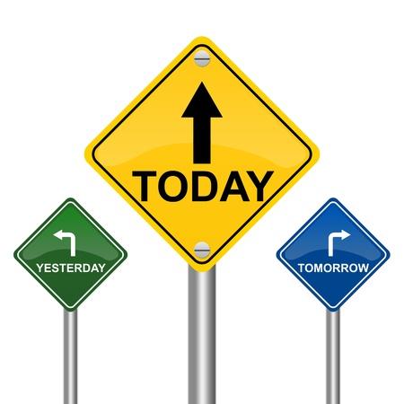 흰색 배경에 내일을 가리키는 다채로운 거리 서명, 오늘과 어제 고립 스톡 콘텐츠