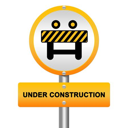 Yellow Glossy Style Under Construction Street Sign With With Site Fence Isolated on White Background  Stock Photo - 17509871