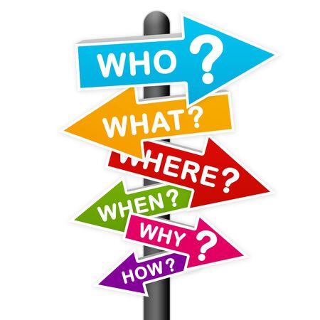 Confusion Konzept derzeit von der Colorful Frage Zeichen auf weißem Hintergrund isoliert