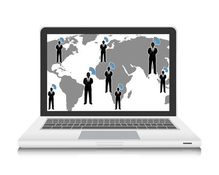 Social Network Concept Present By Businessman With World Map and Wifi Network Isolated On White Background For Computer Network Concept Stock Photo - 17510000