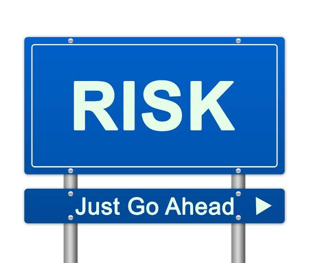 Blue Risk Just Ahead Traffic Sign Isolated On White Background For Business Direction Concept  photo