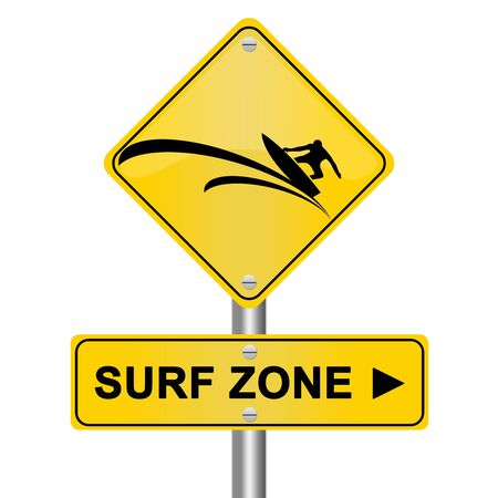Yellow Surf Zone Road Sign Isolated On White Background photo