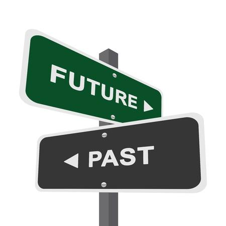 흰색 배경에 미래와 과거의 격리를 가리키는 양방향 거리 서명에 의해 현재의 선택의 개념