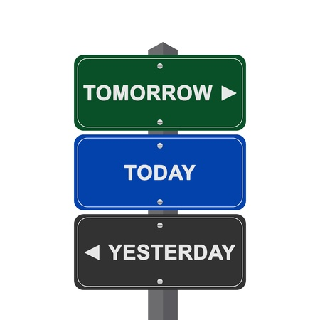 yesterday: Concept of Choices Present By Street Sign Pointing to Tomorrow, Today and Yesterday Isolated On White Background