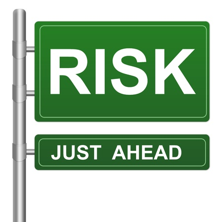 just ahead: Risk Just Ahead Highway Street Sign Isolated On White Background For Business Direction Concept