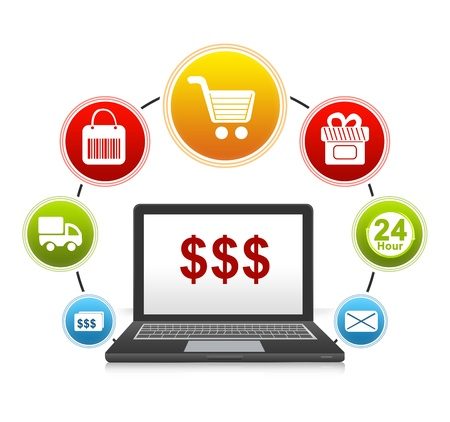 electronic commerce: E-Commerce and Online Shopping Concept Present by Computer Notebook With Red Dollar Sign on Screen and Icon Around Isolate on White Background