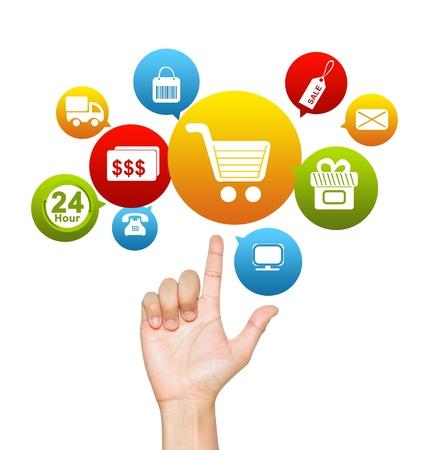 Internet en online winkelen concept te presenteren met de hand met E-Commerce hierboven het Pictogram isoleren op witte achtergrond Stockfoto