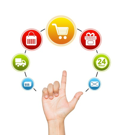 shopping icon: Hand With E-Commerce Icon Around For Internet and Online Shopping Concept Isolate on White Background  Stock Photo