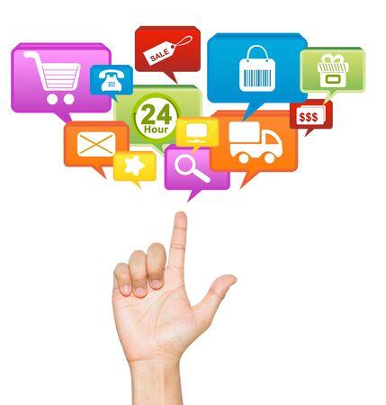전자 상거래 흰색 배경에 인터넷과 온라인 쇼핑 센터 개념 분리에 대 한 손을 통해 스톡 콘텐츠