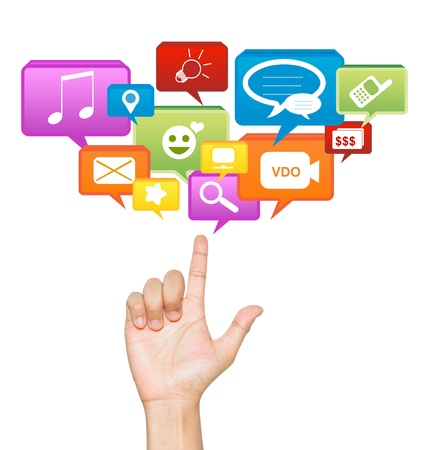 Hand With Social Network Icon Above Isolate on White Background For Social Network Concept Stock Photo - 17509946