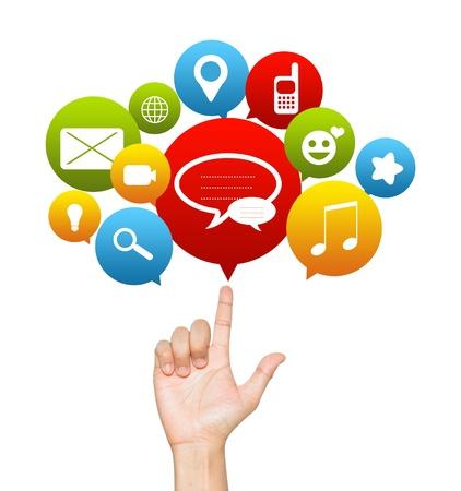 interaccion social: Social Media Concept Presente a mano con los medios de comunicación social iconos encima Aislar sobre fondo blanco