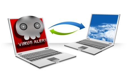 Infected Computer Viruses Attach in Email Transfer To Normal Computer Laptop For Computer Virus Concept Isolated on White Background