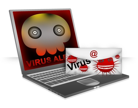 Computer Virus Concept Present By Email With Computer Viruses Attach and Computer Laptop With Skull Virus Alert on Screen Isolated on White Background  Фото со стока