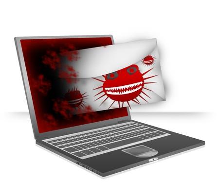 computer virus: Concepto Computer Virus Presente Por Notebook Computer Atacar por virus de computadora Via Email Aislar sobre fondo blanco