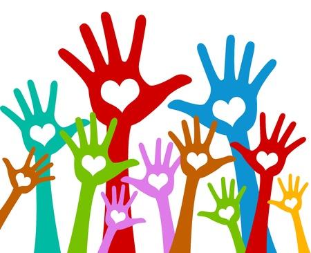 자원 봉사 및 투표 개념 마음으로 다채로운 제기 손으로 흰색 배경에 고립