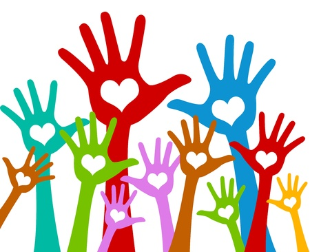 volunteer: The Colorful Raised Hands With Heart For Volunteer and Voting Concept Isolated On White Background