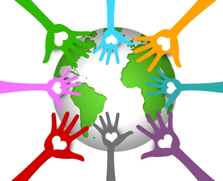 Save The Earth Campaign Graphic Present By Colorful Hand With Heart Around The Earth Isolated on White Background  photo