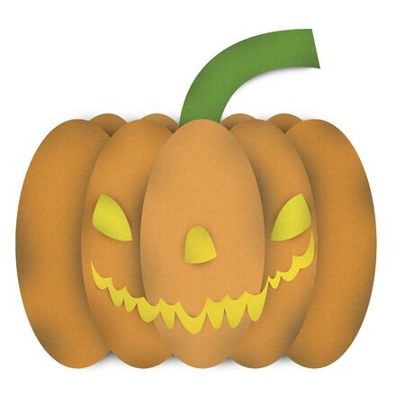 Halloween Pumpkin Made From Recycle Paper Isolated on White Background  photo