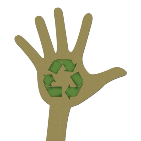 Recycle Concept Present By Brown Hand and Green Recycle Sign Made From Recycle Paper Isolated on White Background  photo