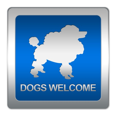 permitted: Blue Metallic Plate With Dogs Welcome Sign Isolated on White Background  Stock Photo