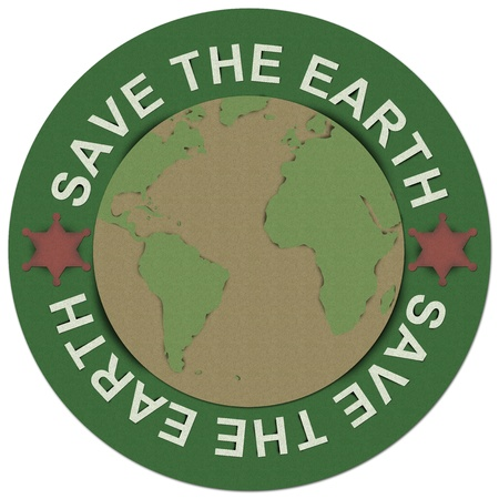 Save The Earth Concept Present By Green Save The Earth Circle Sign Made From Recycle Paper Isolated on White Background  photo