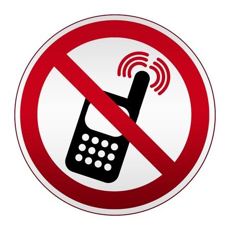 interdiction telephone: Interdit Cercle Silver Metallic D�sactiver le t�l�phone portable isol� sur fond blanc