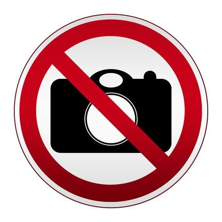 no cameras allowed: Prohibited Circle Silver Metallic No photography Sign Isolated on White Background  Stock Photo