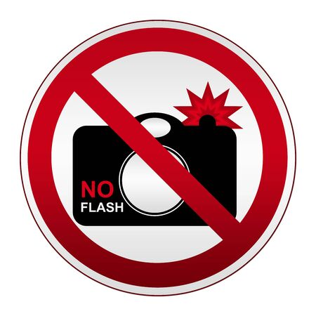 no cameras allowed: No Flash Sign On Prohibited Circle Silver Metallic Plate Isolated on White Background