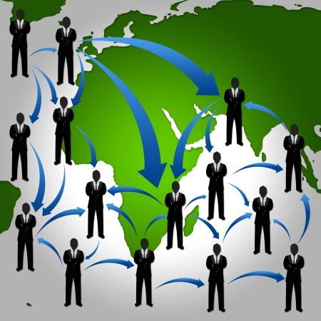 Many Businessman Stand on The Atlas With The Network Connection For Social Network Concept Stock Photo - 17608356